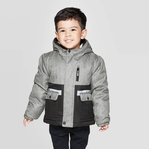 Toddler Boys' Pieced Tech Puffer Jacket - Cat & Jack™ Black - image 1 of 4