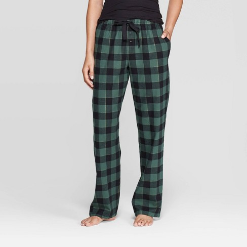Women's Buffalo Plaid Perfectly Cozy Flannel Pajama Pants - Stars Above™ Green - image 1 of 2