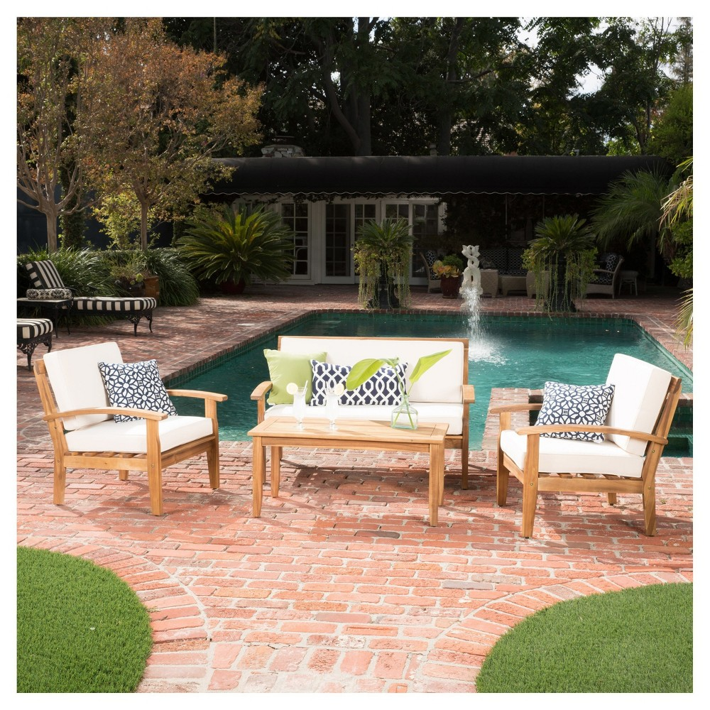 Peyton 4pc Acacia Wood Chat Set w/ Cushions - Beige - Christopher Knight Home