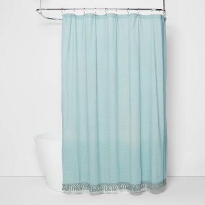 Textured Dot Fringed Shower Curtain - Opalhouse™