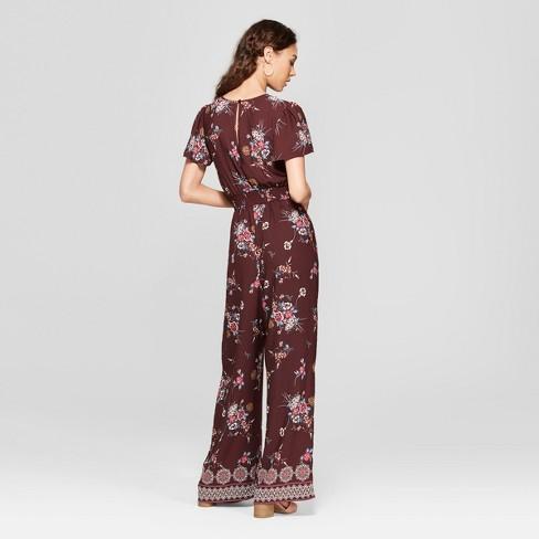 18bba1a95481 Women s Short Sleeve Tie Front Floral Jumpsuit - Xhilaration™   Target