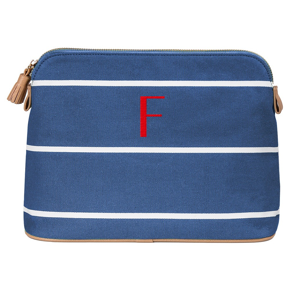 Personalized Blue Striped Cosmetic Bag - F