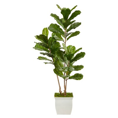5.5' Indoor/Outdoor Fiddle Leaf Artificial Tree in Metal Planter White/Green - Nearly Natural