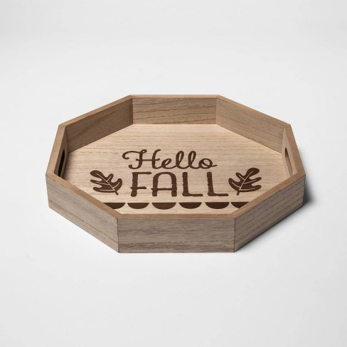 """Harvest Brown """"Hello Fall"""" Decorative Wooden Serving Tray - Spritz™ - image 1 of 1"""