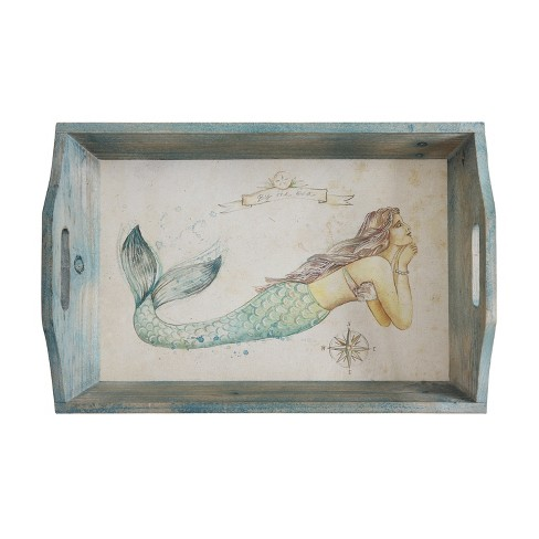 Decorative Wood Tray with Mermaid - 3R Studios - image 1 of 2