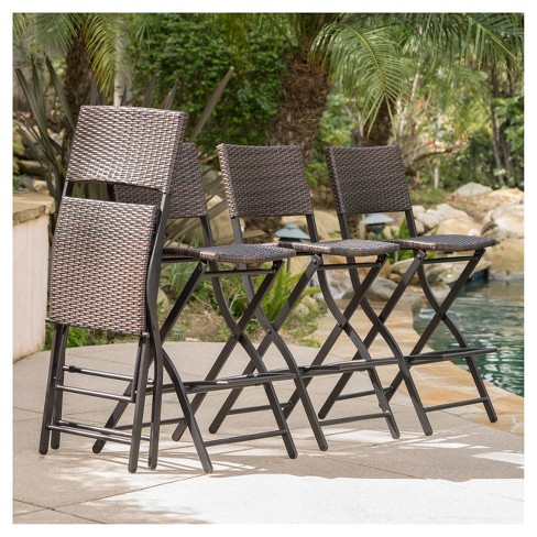 Margarita 4pk All Weather Wicker Patio Barstools Brown Christopher Knight Home Target