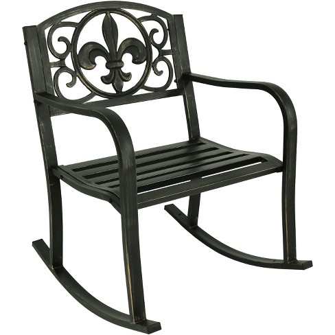 Cast Iron Fleur De Lis Patio Rocking Chair Sunnydaze Decor