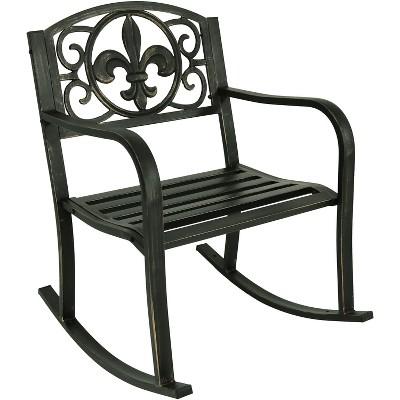 Cast Iron Fleur De Lis Patio Rocking Chair   Sunnydaze Decor