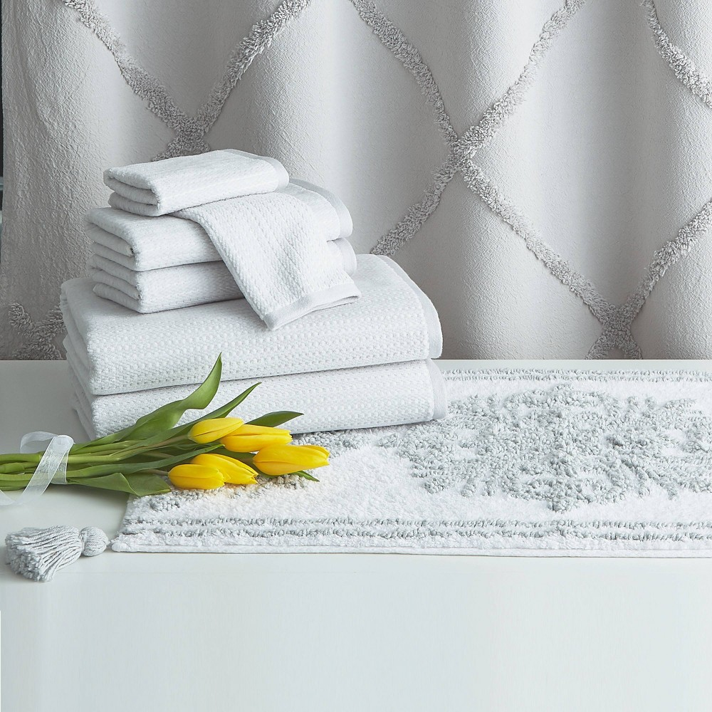 Image of 8pc Chenille Lattice Towel Bundle and Bath Rug with Shower Curtain Gray - Destinations