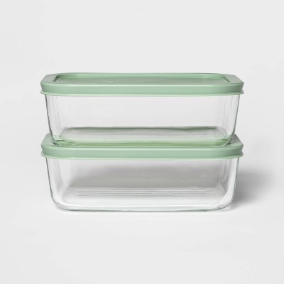 4 Cup 2pk Rectangular Food Storage Container Set Mint - Room Essentials™