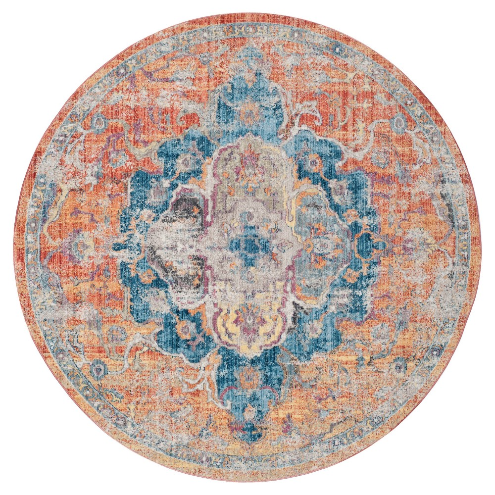 Blue Orange Medallion Loomed Round Area Rug 7 Safavieh