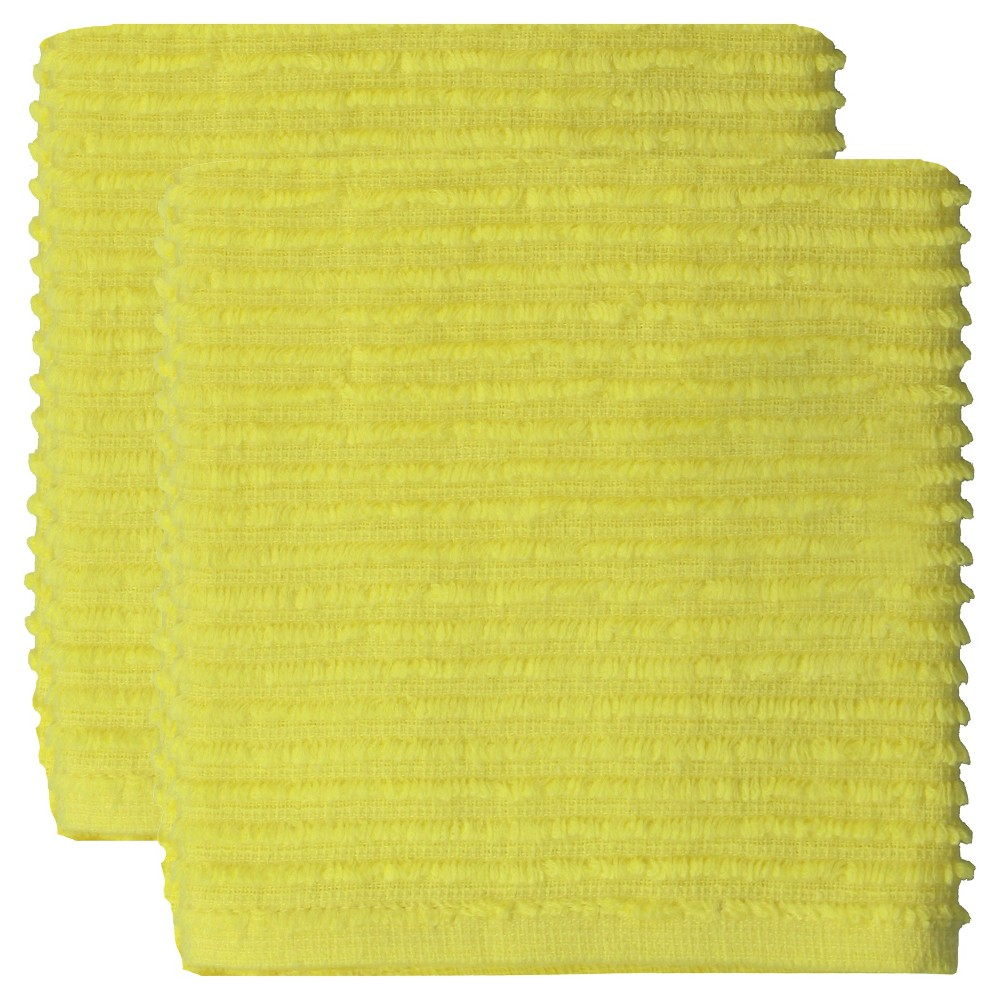 "Image of ""12""""x12"""" 2pk Cotton Ridged Dish Cloth Yellow - MU kitchen"""