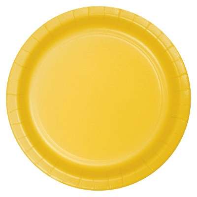 "School Bus Yellow 7"" Dessert Plates - 24ct"