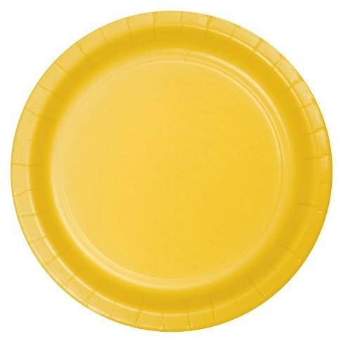 "School Bus Yellow 7"" Dessert Plates - 24ct - image 1 of 3"