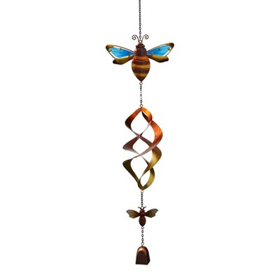 Lakeside Hanging Honey Bee Wind Spinner with Bell Chime - Garden Décor Accent