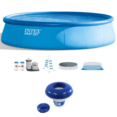 "Intex 18' x 48"" Round Above Ground Swimming Pool w/ 7"" Chlorine Dispenser"