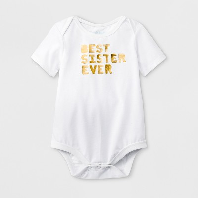 Baby Girls' Short Sleeve 'Best Sister Ever' Graphic Bodysuit - Cat & Jack™ White 12M