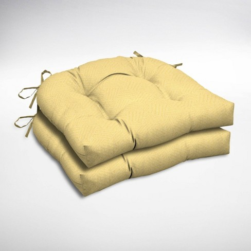 2pk Shirt Texture Wicker Outdoor Chair Cushions Yellow - Arden Selections - image 1 of 2