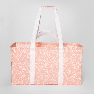 Soft Sided Scrunchable Laundry Basket Pebble Dot Coral - Room Essentials™