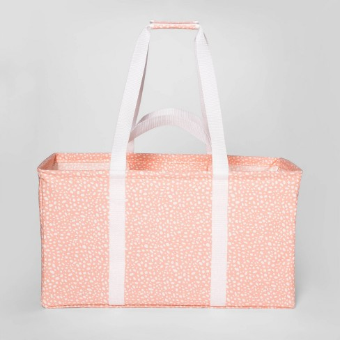 Soft Sided Scrunchable Laundry Basket Pebble Dot Coral - Room Essentials™ - image 1 of 5