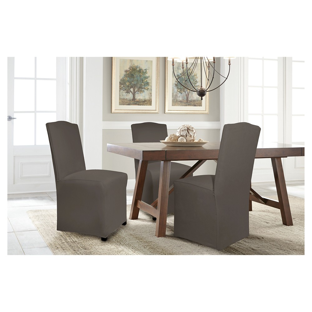 Graphite (Grey) Reversible Stretch Fit Dining Chair Slipcover Long - Serta
