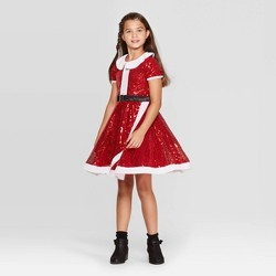 Girls' Jo Jo's Closet Holiday Dress - Red