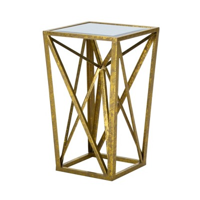 Jaye Angular Mirror Accent Table - Gold