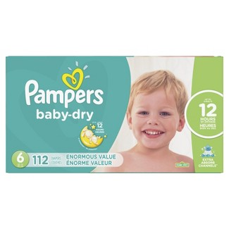 Pampers Baby Dry Disposable Diapers Enormous Pack - Size 6 (112ct)