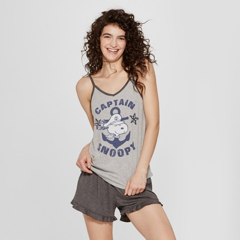 022ce1679551 Women s Peanuts Snoopy Tank Top and Shorts Pajama Set - Gray XL   Target