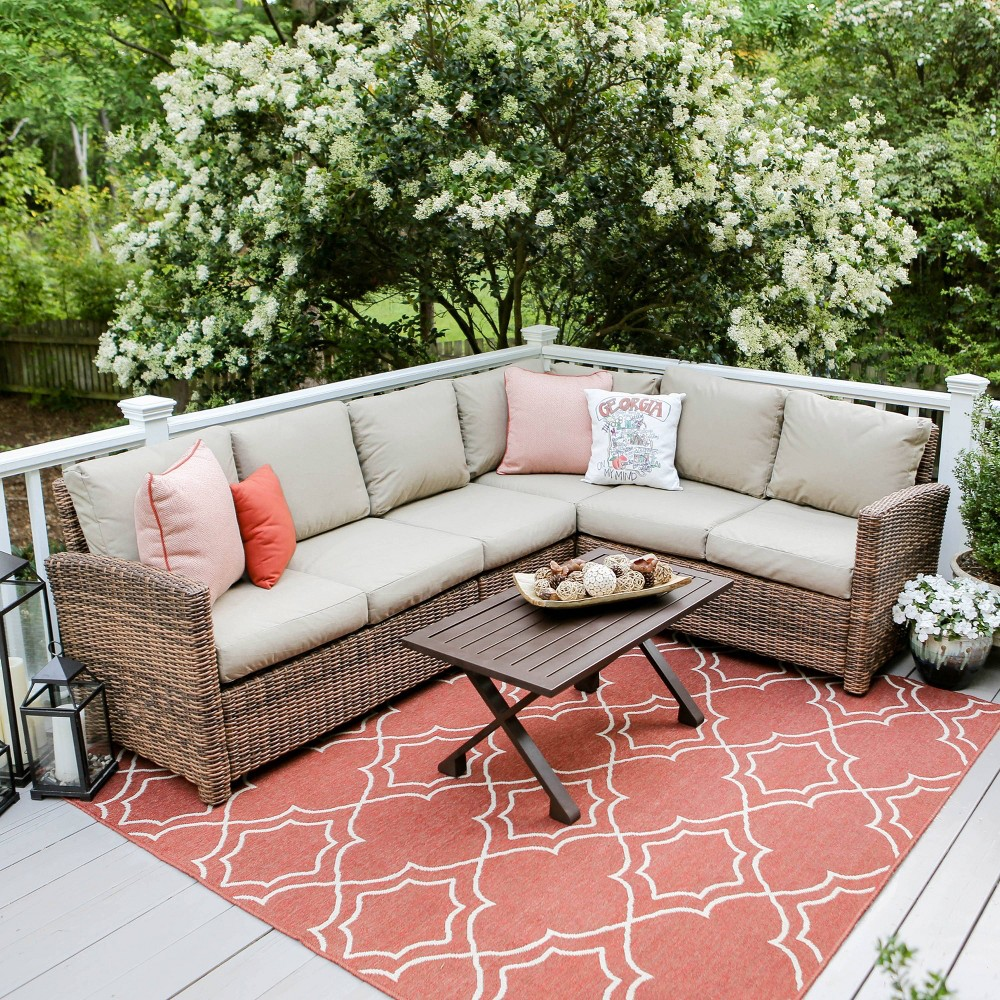 Dalton 5pc Patio Seating Set with Sunbrella Fabric - Tan - Leisure Made