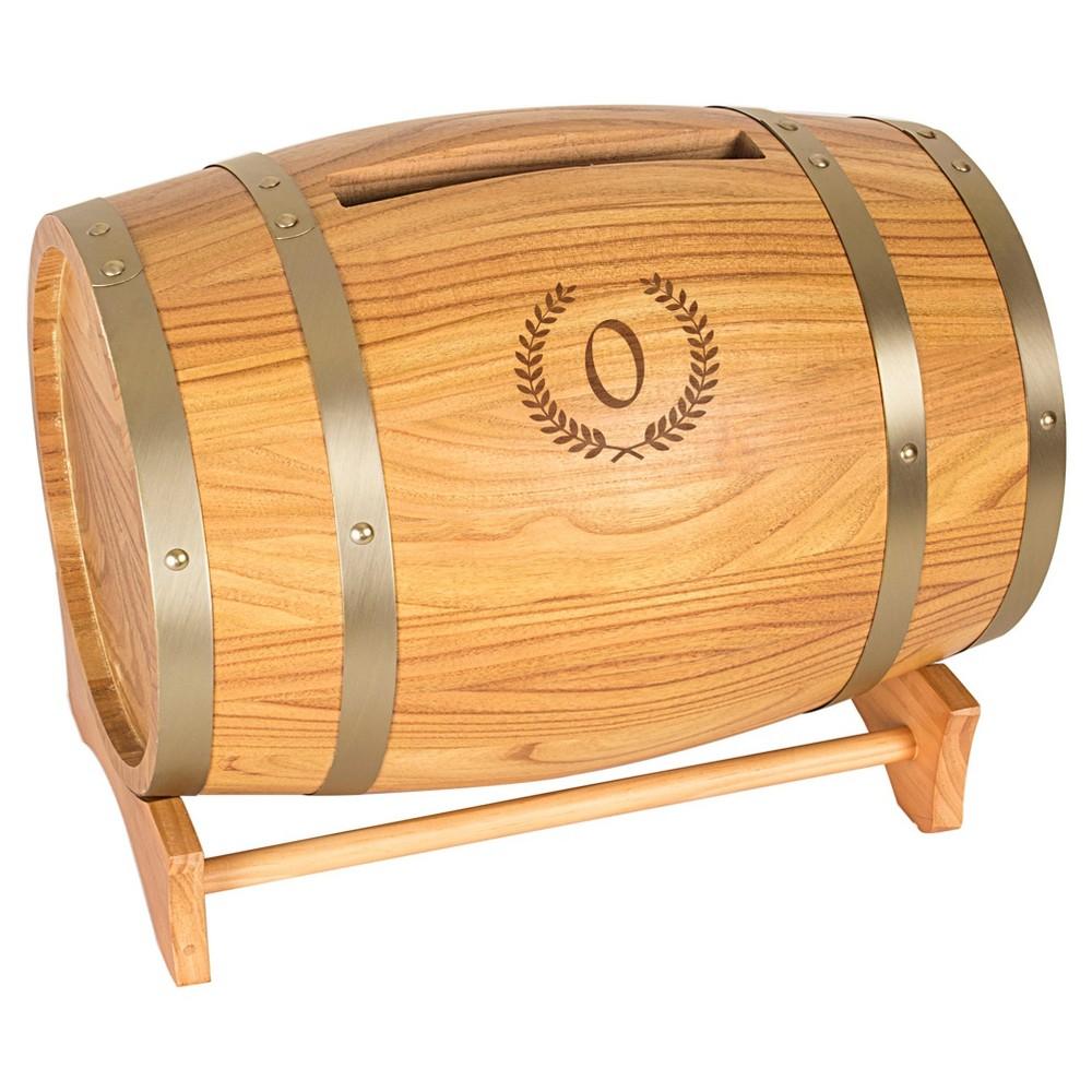 Wood Wine Barrel Card Holder O, Brown