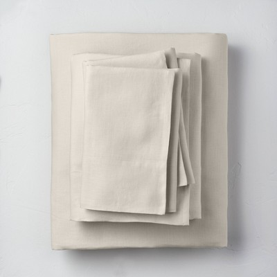 Queen 100% Washed Linen Solid Sheet Set Natural - Casaluna™