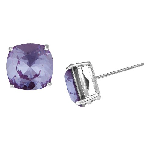 Women's Silver Plated Square Crystal Stud Earring - Purple (10mm) - image 1 of 1