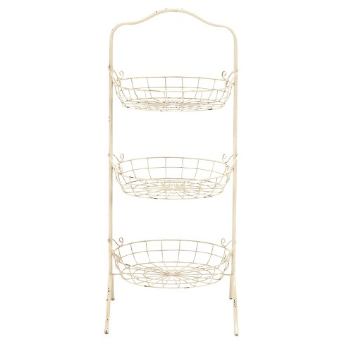 """Farmhouse Rustic Iron 3-Tiered Basket Rack (42"""") - Olivia & May - image 1 of 1"""