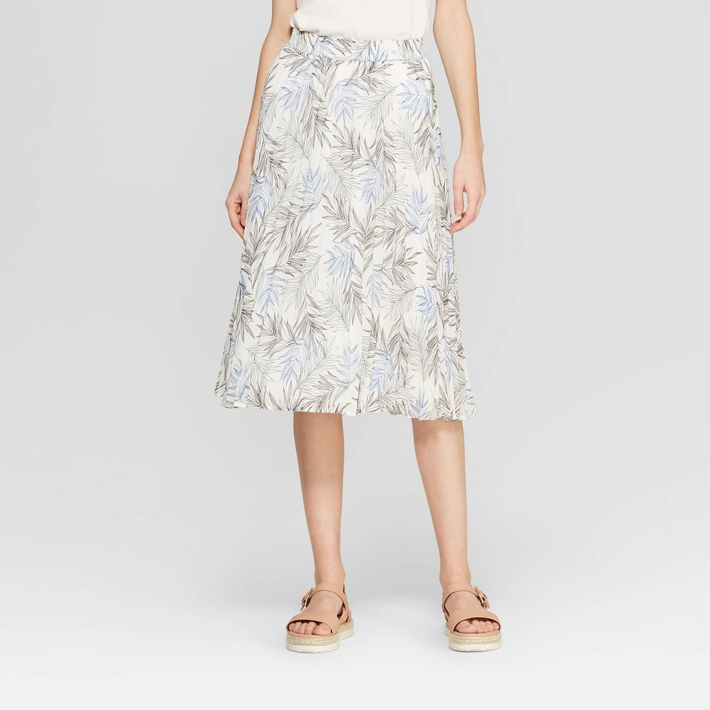 Women's Floral Print A Line Pleated Midi Skirt - A New Day White XL