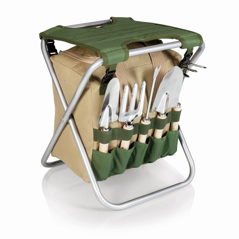 Image of 5 Pc Garden Tool Set with Tote And Folding Seat - Picnic Time