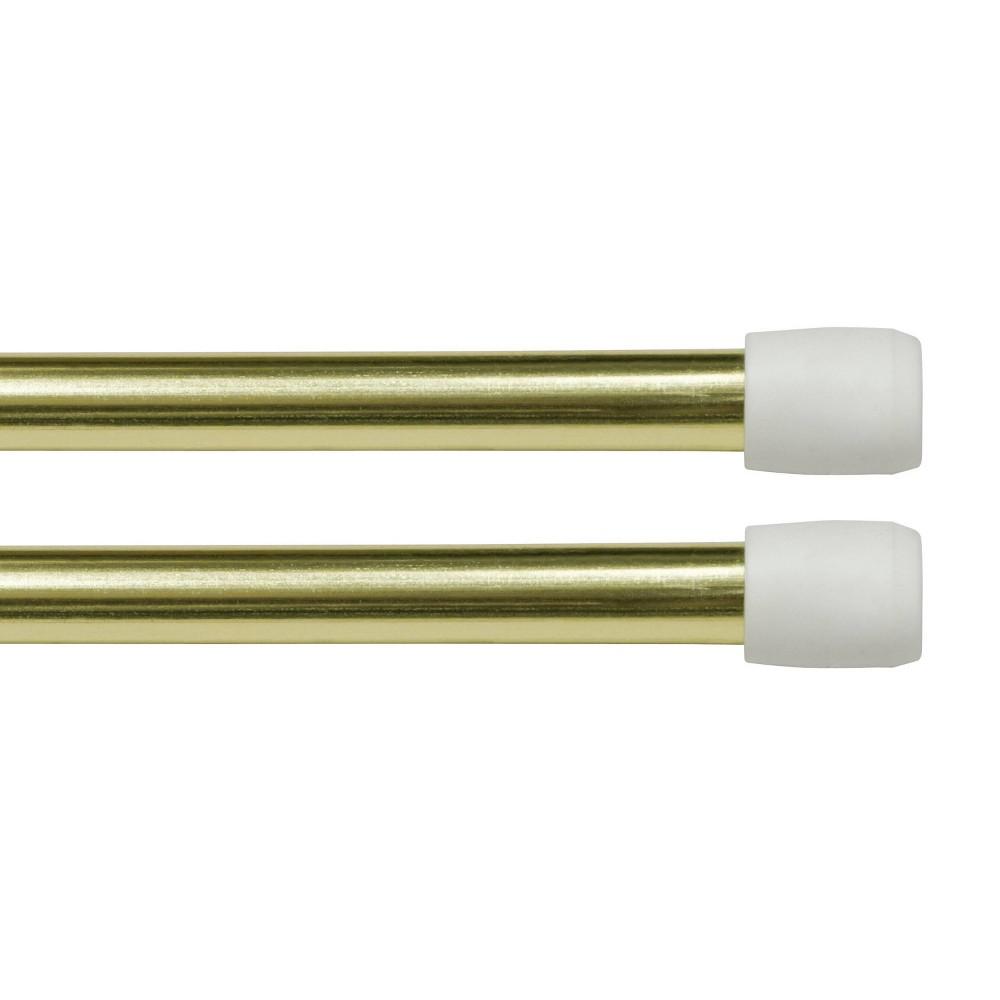 "Image of ""28""""x48"""" Set of 2 Strafford Adjustable Spring Tension Rods Brass - Kenney"""