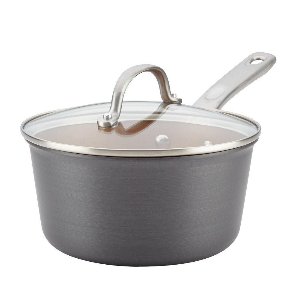 Image of Ayesha Curry 3qt Home Collection Hard Anodized Aluminum Covered Saucepan, Gray