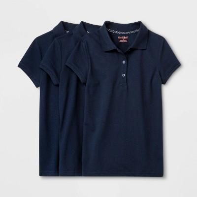 Girls' 3pk Short Sleeve Stretch Pique Uniform Polo Shirt - Cat & Jack™ Navy