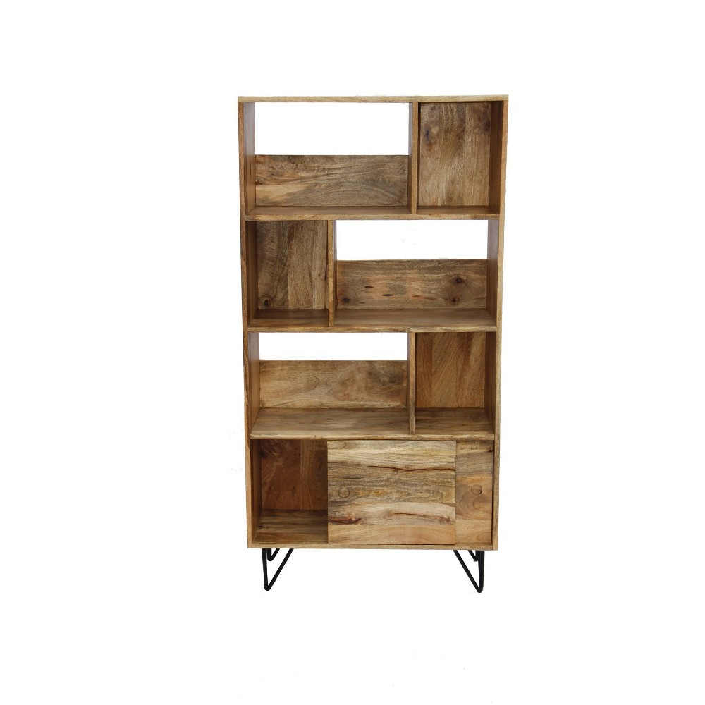 Industrial Design Wooden Bookshelf Camel - The Urban Port