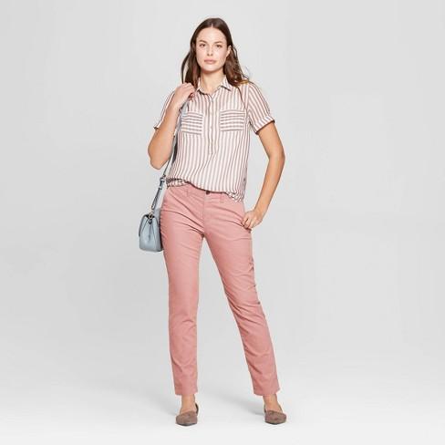 12eb8d9b1da Women s Striped Short Sleeve Button-Down Shirt - A New Day™ Brown. Shop all  A New Day™