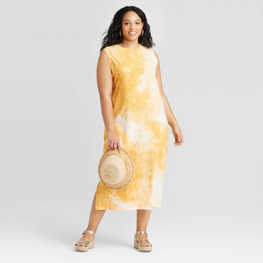 Women 39 S Plus Size Tie Dye Sleeveless Dress Universal Thread 8482 Gold 2x