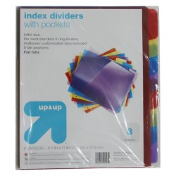 8ct Tabbed Plastic Index Dividers with Pockets - Up&Up™