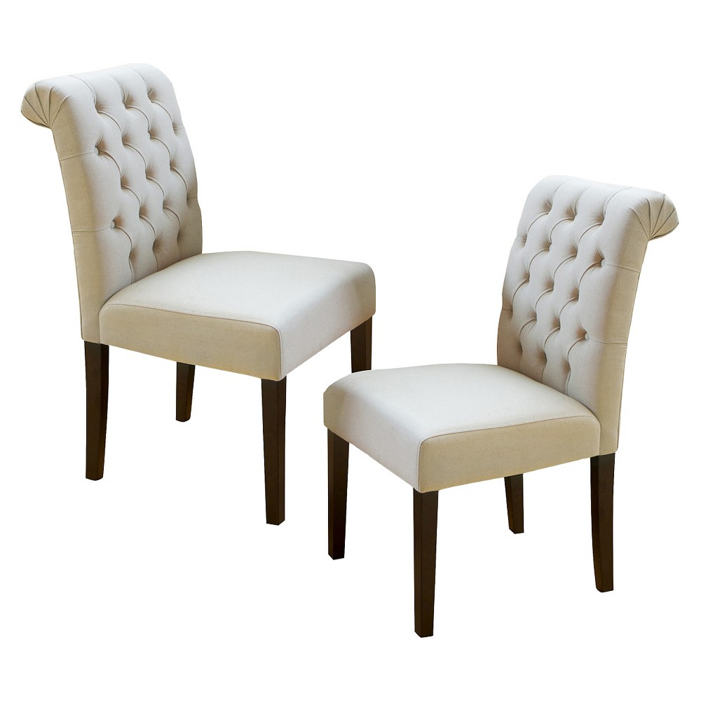 Set of 2 Dinah Roll Top Fabric Dining Chair Ivory - Christopher Knight Home was $228.99 now $160.29 (30.0% off)