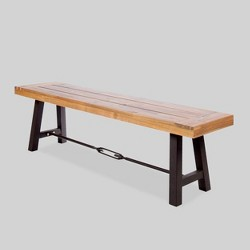 Catriona Acacia Wood Patio Bench - Teak - Christopher Knight Home