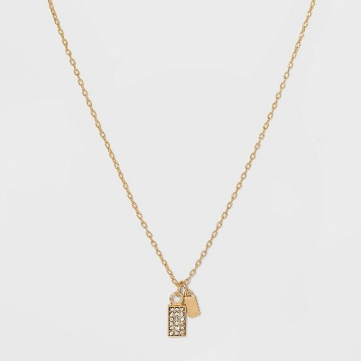 Stone and Square Charm Pendant Necklace - A New Day™ Gold