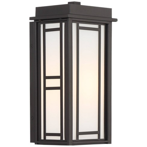 """John Timberland Mission Outdoor Wall Light Fixture Bronze Geometric Linework 11 1/2"""" Frosted White Glass House Porch Patio Deck - image 1 of 4"""
