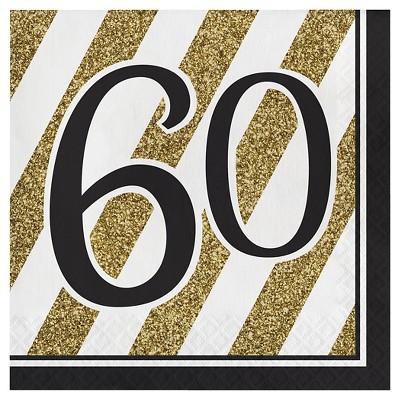 16ct Black & Gold 60th Birthday Napkins