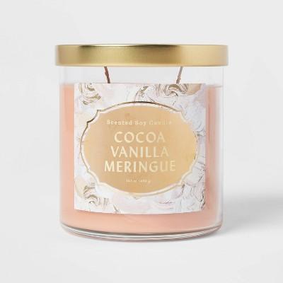 Lidded Glass Jar Cocoa Vanilla Meringue Candle - Opalhouse™