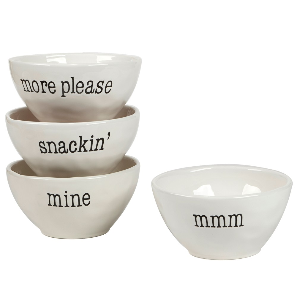 Image of Certified International It's Just Words Ceramic Dessert Bowls 28oz White - Set of 4